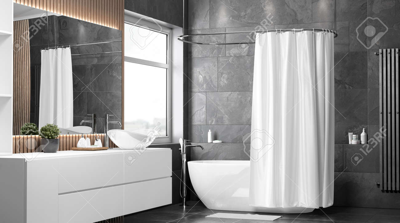 blank white half open shower curtain mockup half turned view