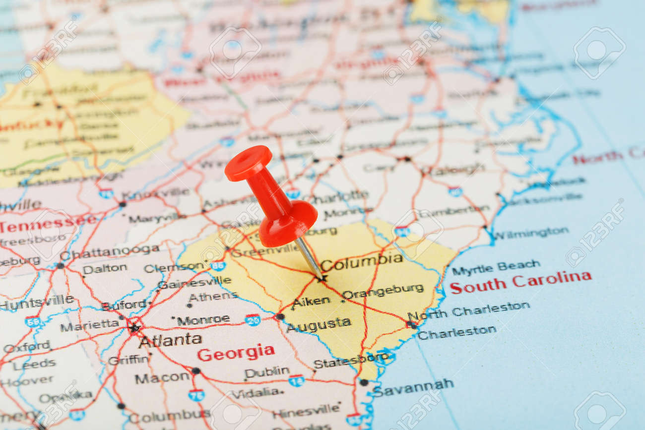Red Clerical Needle On A Map Of Usa South South Carolina And Stock Photo Picture And Royalty Free Image Image 129171609