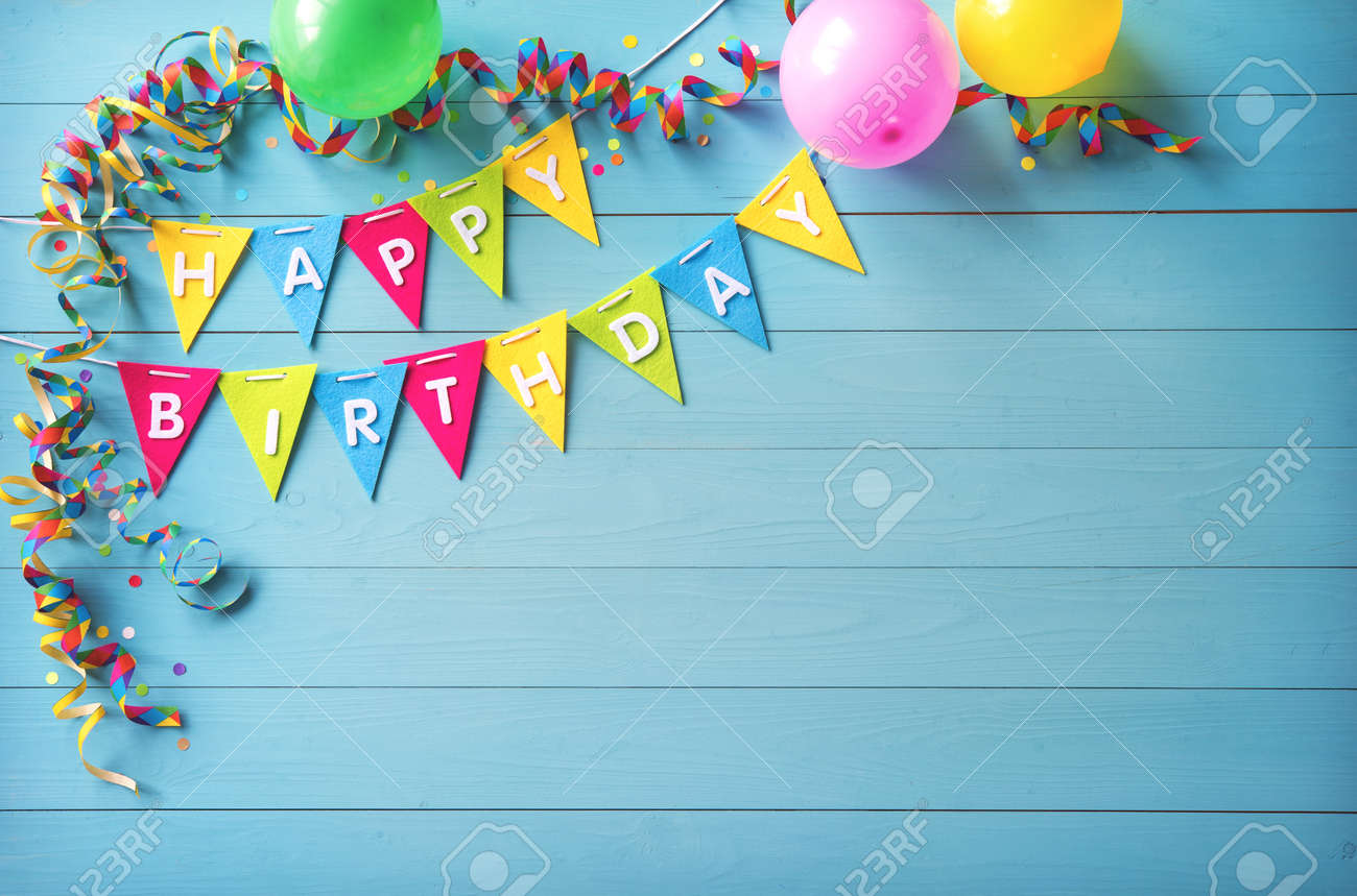 Happy Birthday Party Background With Text And Colorful Tools Stock Photo Picture And Royalty Free Image Image 93720088