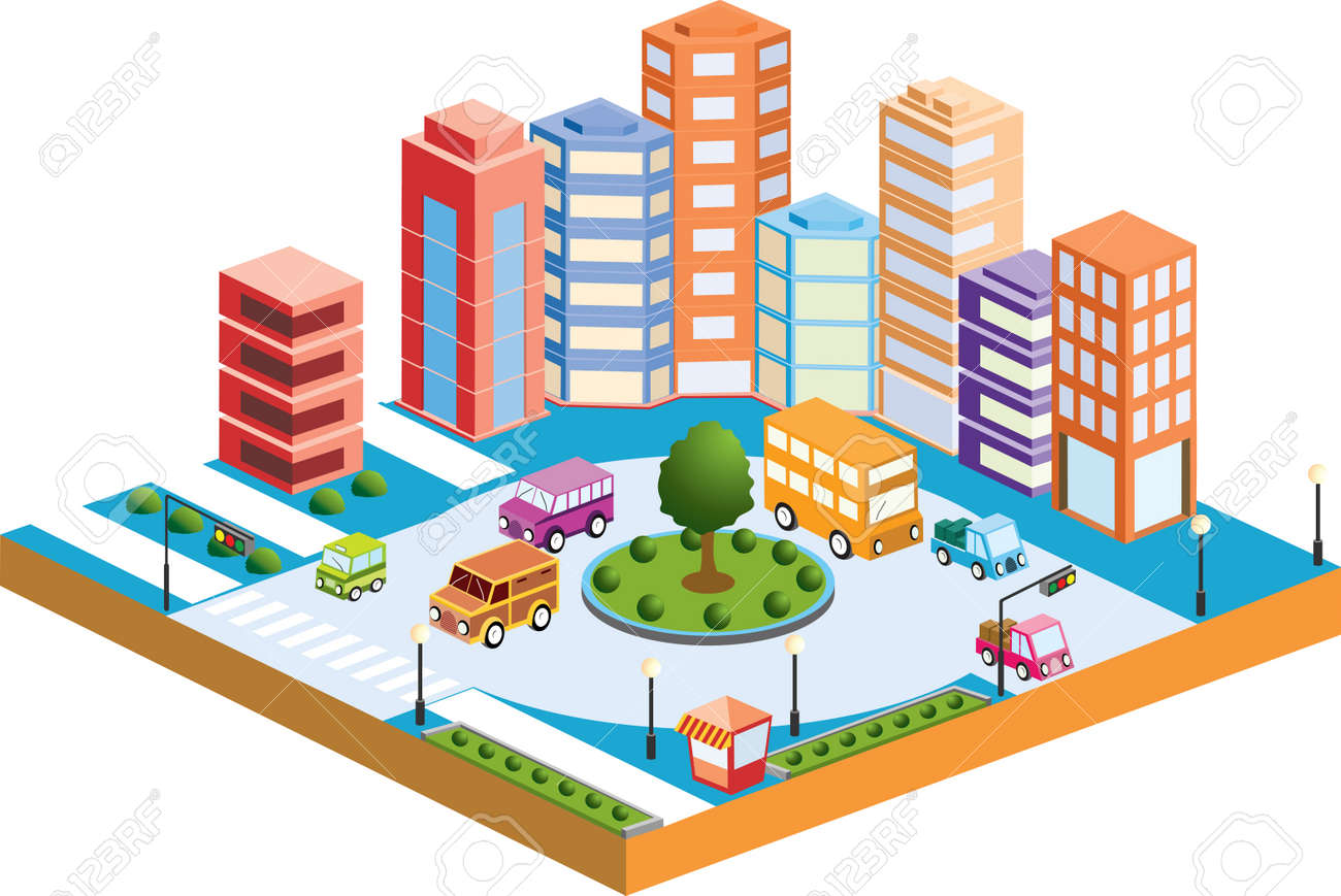 3d city with transport and buildings royalty free cliparts, vectors
