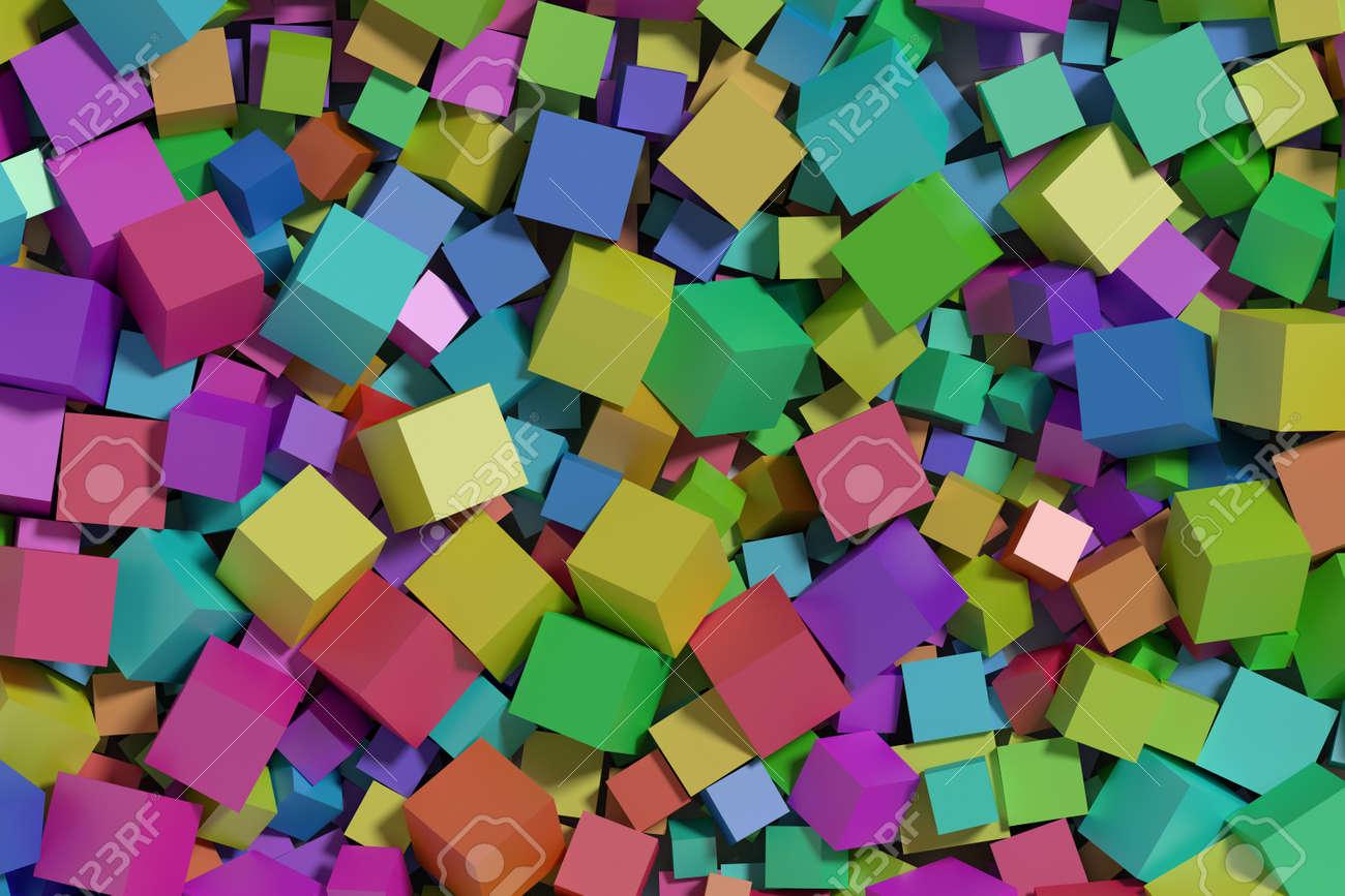 abstrait fait avec beaucoup de cubes multicolores fond d ecran rendu 3d illustration 3d