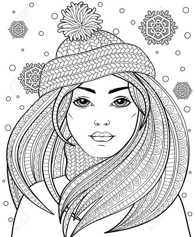 Young Beautiful Girl With Long Hair In Knitted Hat. Tattoo Or