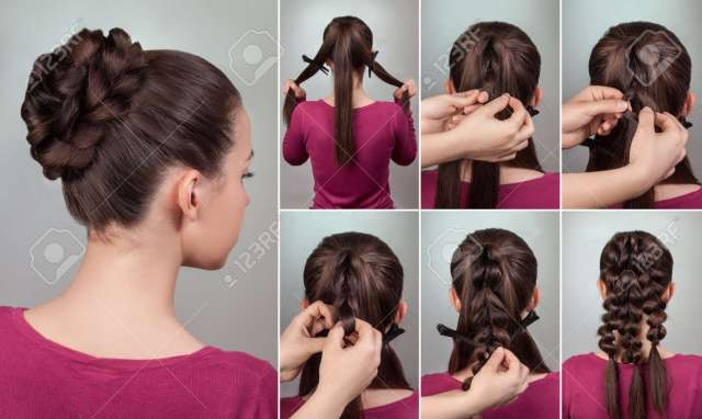 simple elegant hairstyle tutorial.updo for long and medium hair.woman..