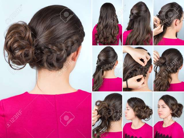 hairstyle twisted bun to one side and braid on curly hair. hairstyle..