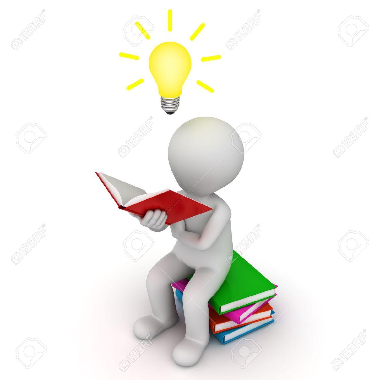 3d homme assis et lire le livre avec l idee ampoule sur fond blanc
