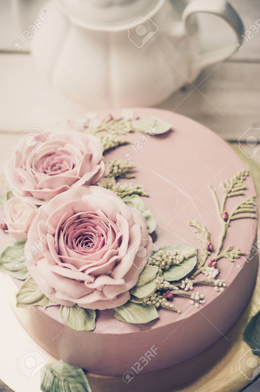 Buttercream Flower Cake Happy Birthday Cake Stock Photo Picture And Royalty Free Image Image 94049635