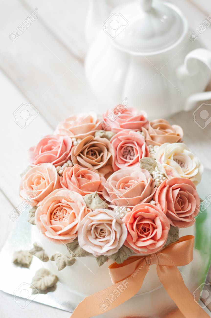 Buttercream Flower Cake Happy Birthday Cake Stock Photo Picture And Royalty Free Image Image 94058581