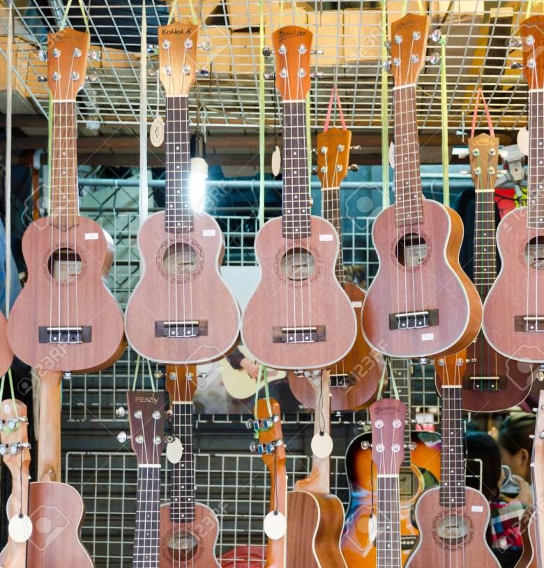 bangkok,thailand - 19 february 2017 : shop selling music instrument