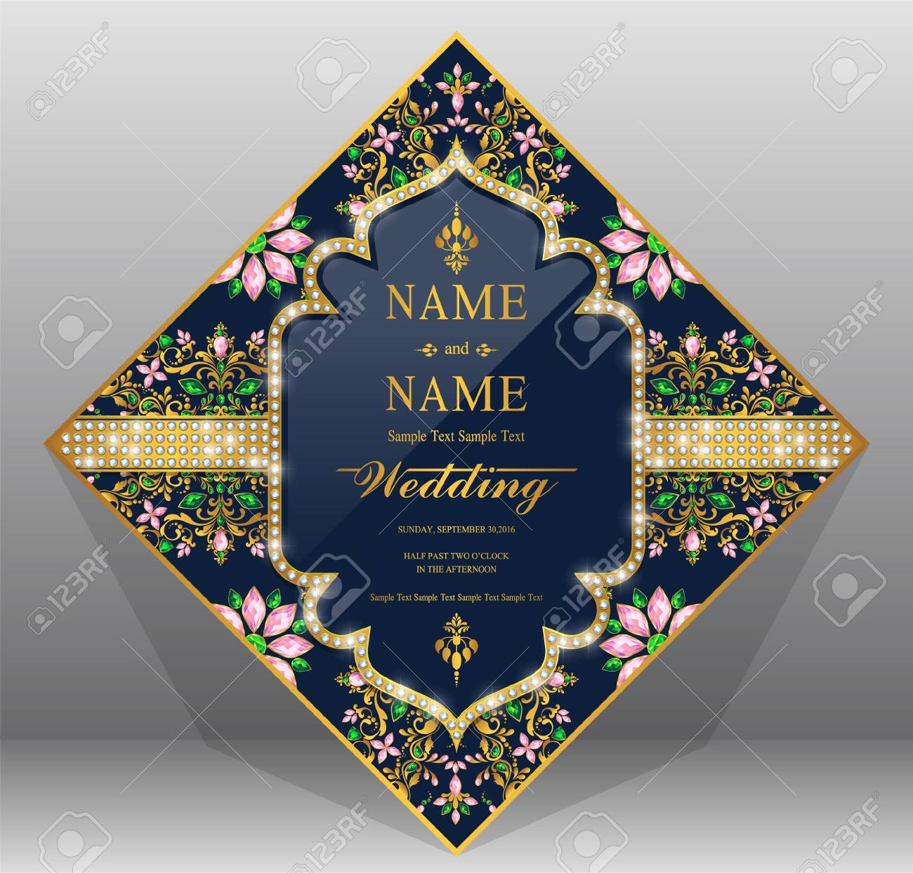 wedding invitation card templates with gold patterned and crystals