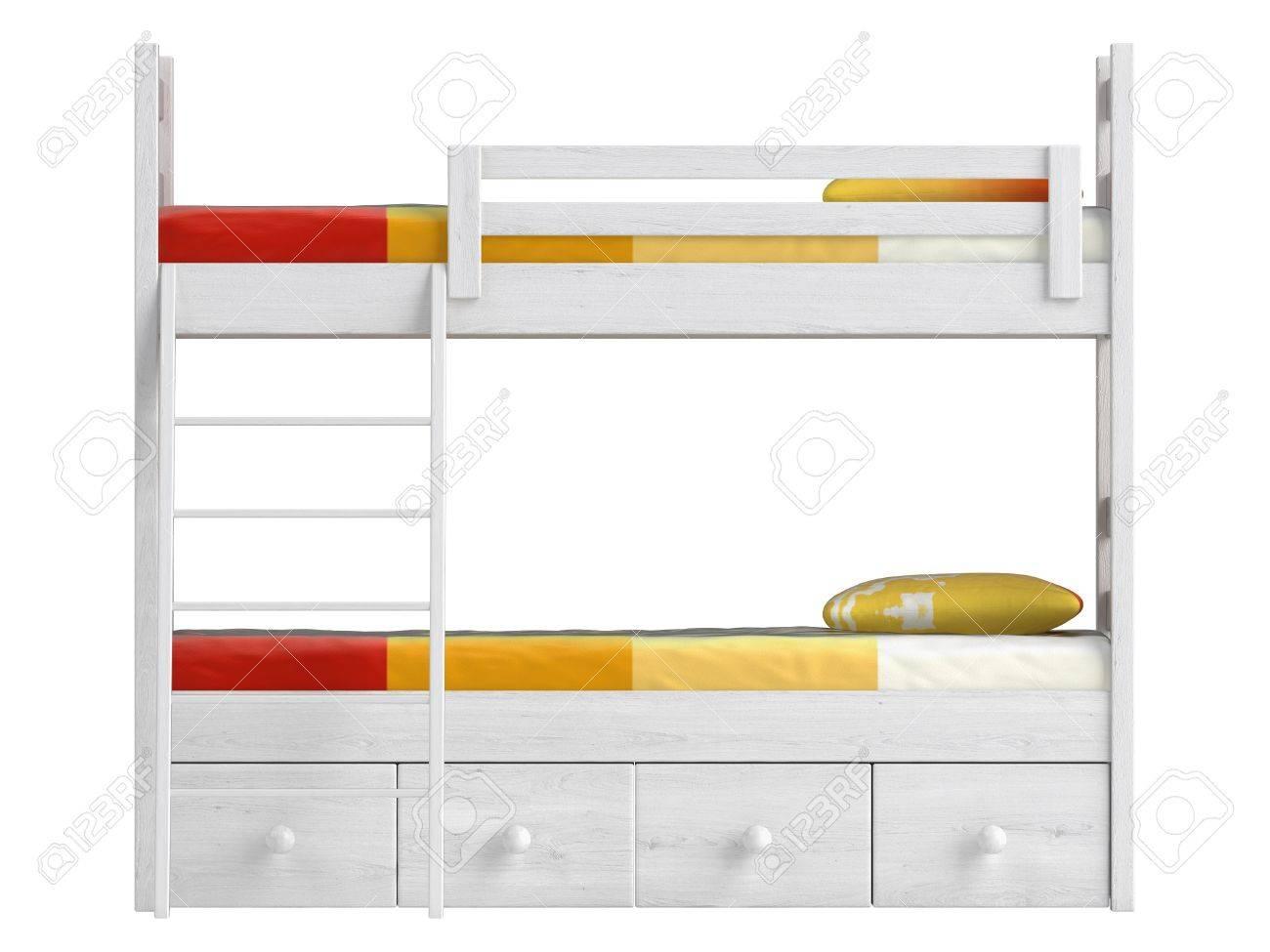 lit superpose double avec tiroirs de rangement et une echelle peinte en blanc avec une literie coloree d orange isole sur blanc