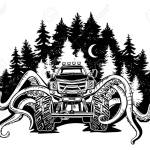 Vector Monster Truck With Tentacles Of The Mollusk And Forest Landscape Mystical Animal Car Tattoo Adventure Travel Outdoors Art Symbols 4x4 Off Road Fantastic Creature Banco De Imagens Royalty Free Ilustracoes Imagens