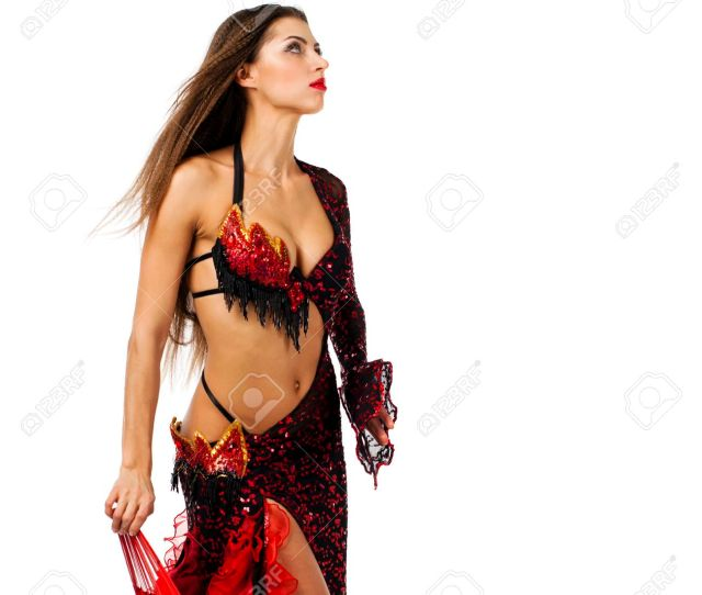 Sexy Woman Traditional Spanish Flamenco Dancer Dancing In A Red