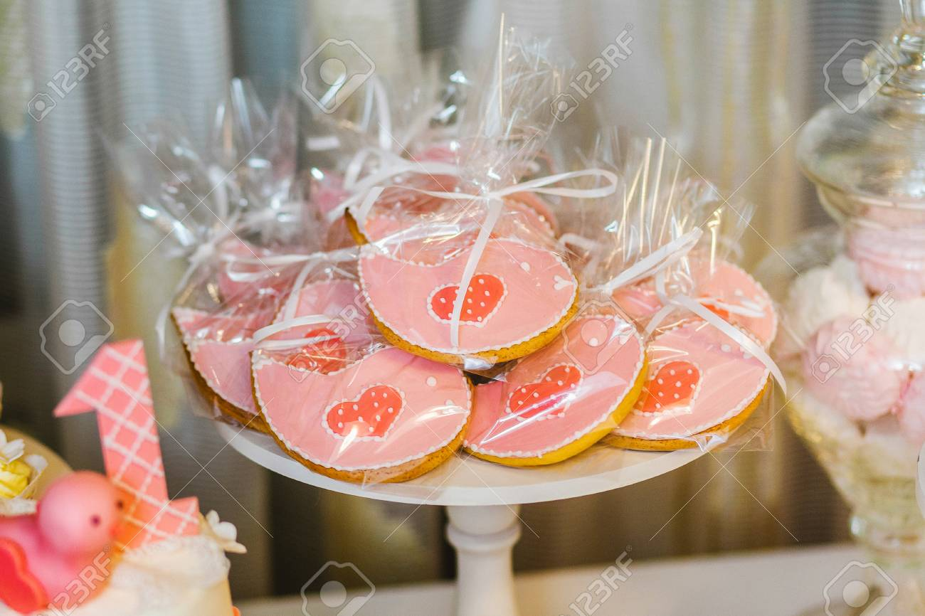 Catering For Birthday Party Close Up Of Sweet Cute Pink Desserts Stock Photo Picture And Royalty Free Image Image 99081573