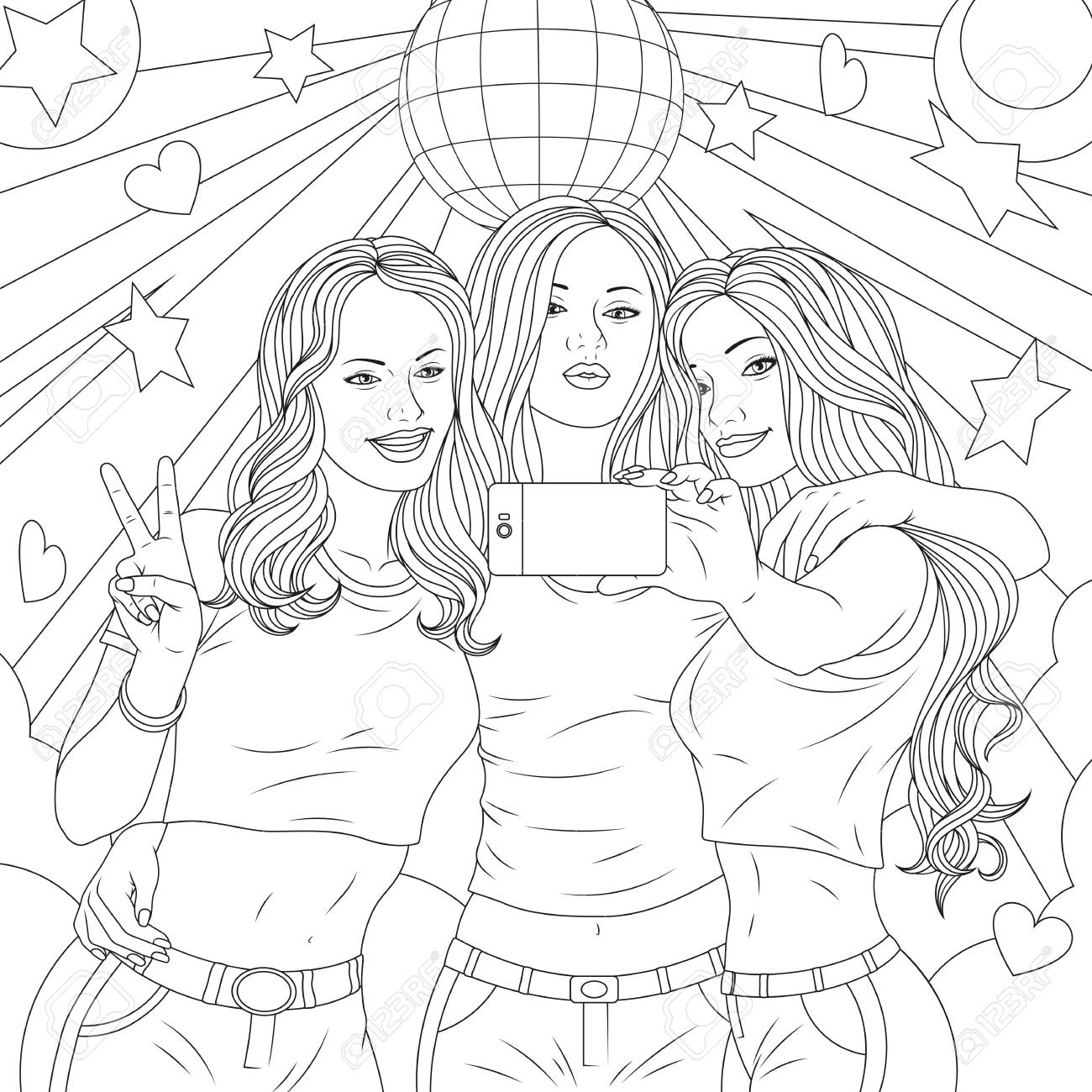 Vector Illustration Three Beautiful Girls Are Photographed On Royalty Free Cliparts Vectors And Stock Illustration Image 105280712