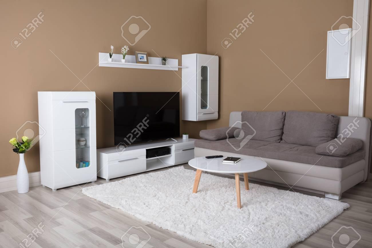 appartement moderne avec television et canape dans le salon banque d images et photos libres de droits image 85865088