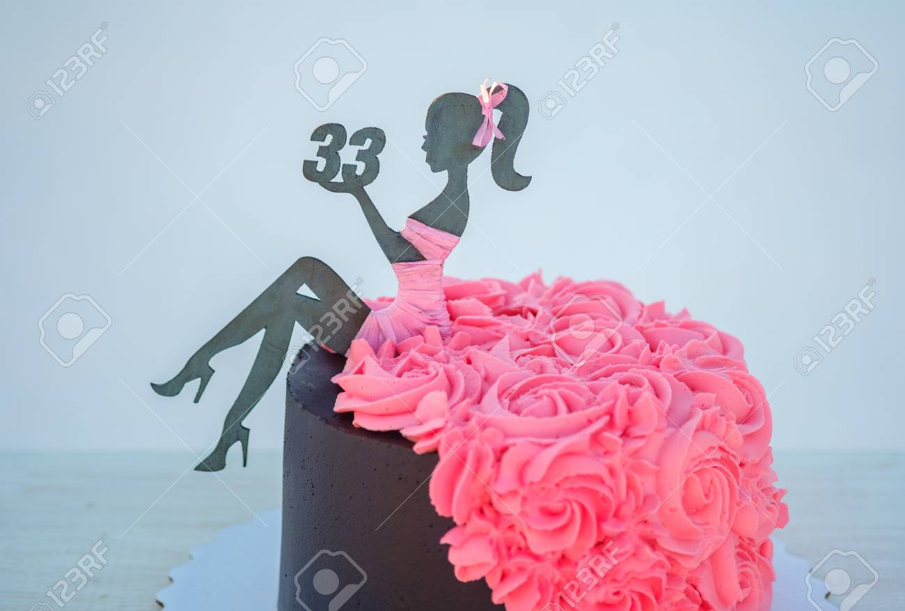 Beautiful Birthday Cake With A Figure Of A Woman And The Number Stock Photo Picture And Royalty Free Image Image 115588410