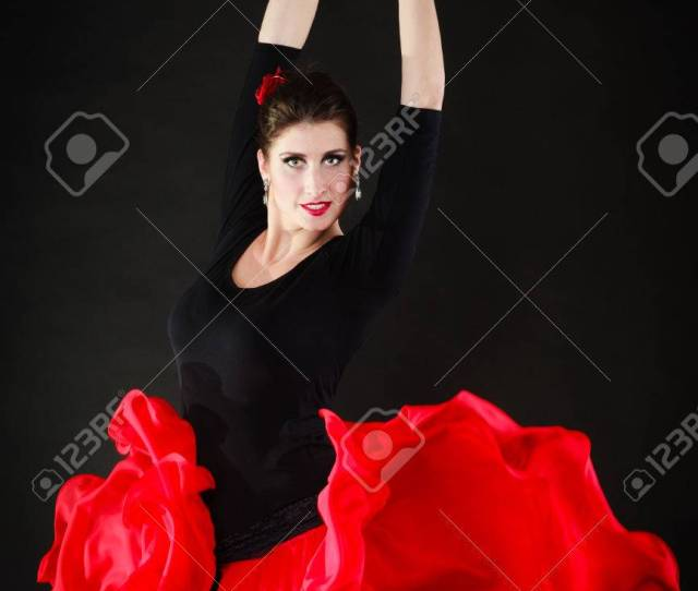 Art Sexy Spanish Girl Attractive Woman In Red Long Skirt Dancing Flamenco Traditional Dance