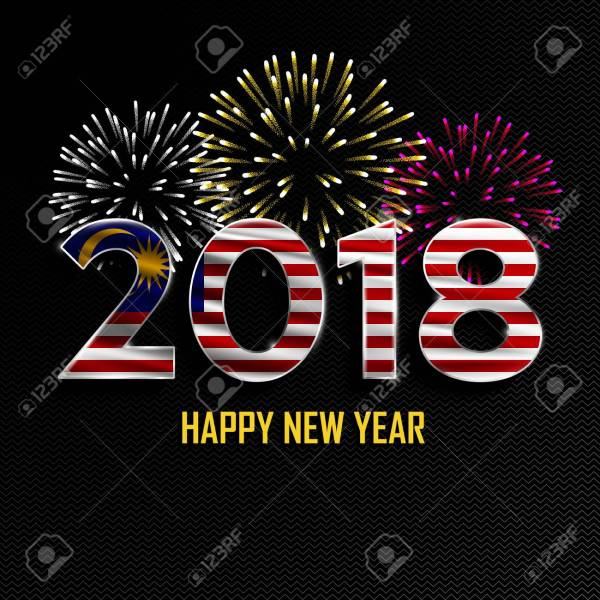 Happy New Year And Merry Christmas  2018 New Year Background     Happy New Year and Merry Christmas  2018 New Year background with national  flag of Malaysia