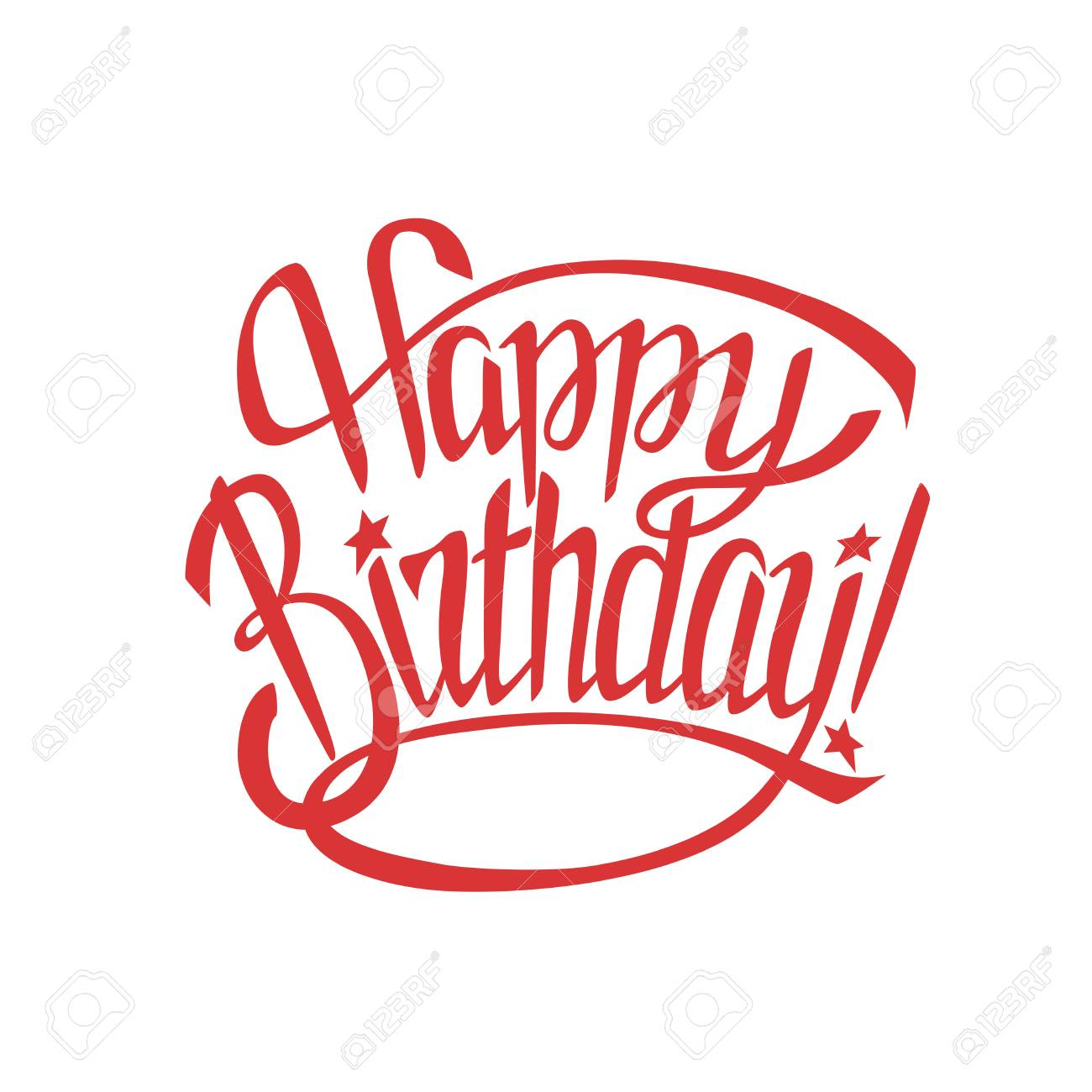Happy Birthday Greeting Card With Calligraphy On White Background Royalty Free Cliparts Vectors And Stock Illustration Image 88196338