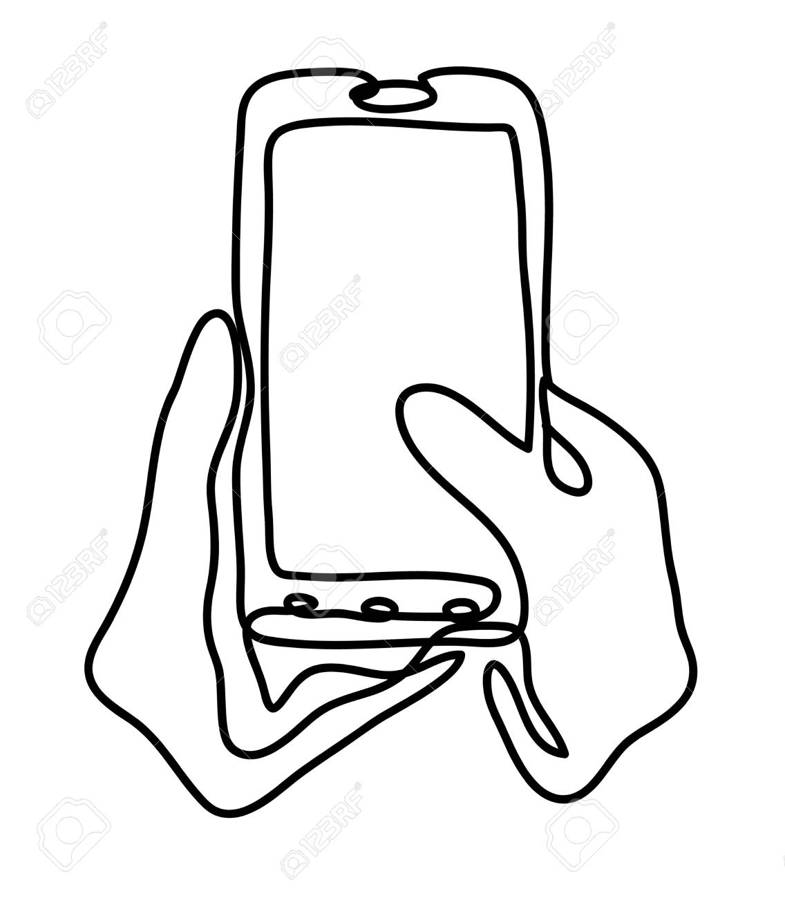Isolated on white 98856049 closeup shot of a woman typing on mobile phone isolated on white background continuous line drawing photo 98856049 stock