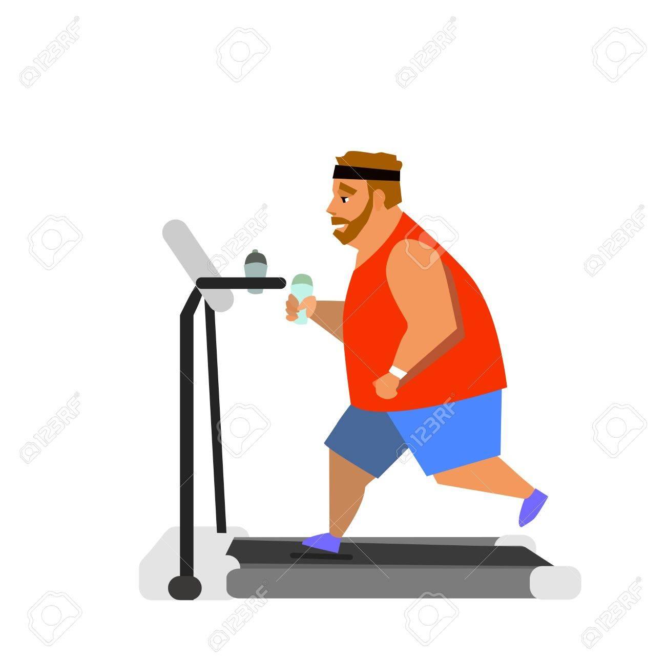 obesite jeune homme courant sur un tapis roulant illustration vectorielle
