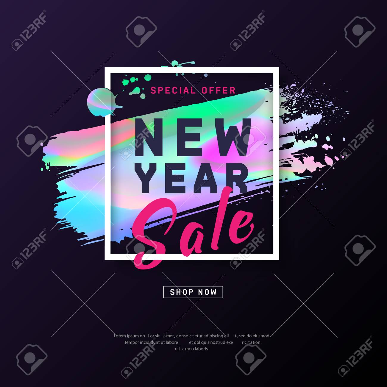 2018 New Year Poster With Holographic Effect Brush Stroke  Layout     2018 New Year Poster with holographic effect brush stroke  Layout  background  Modern concept for