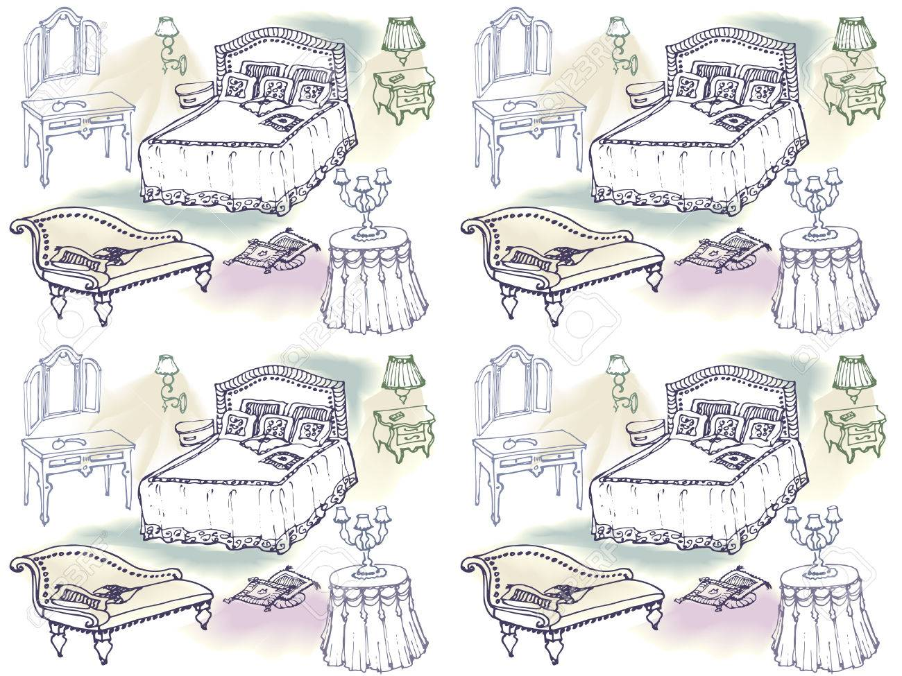 Sketch Of A Classic Bedroom Furniture Bed Blanket Pillow
