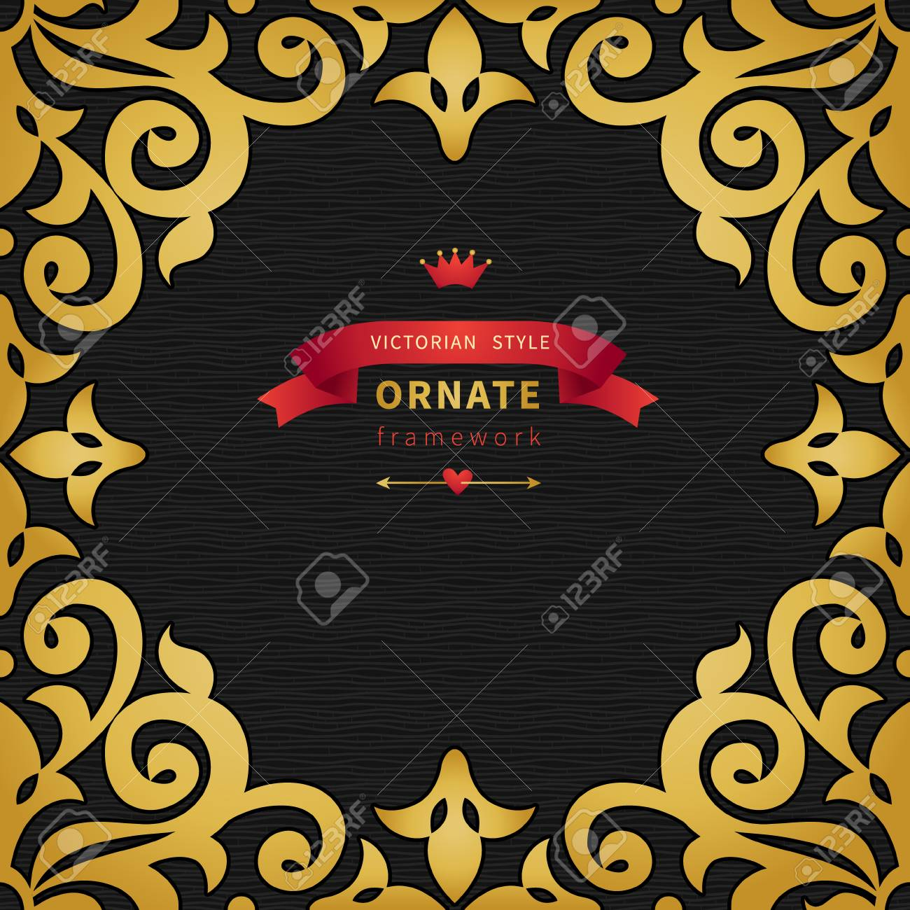 Vector Seamless Border In Victorian Style With Hipsters Label