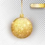 Golden Glitter Christmas Bauble Golden Glitter Isolated On White