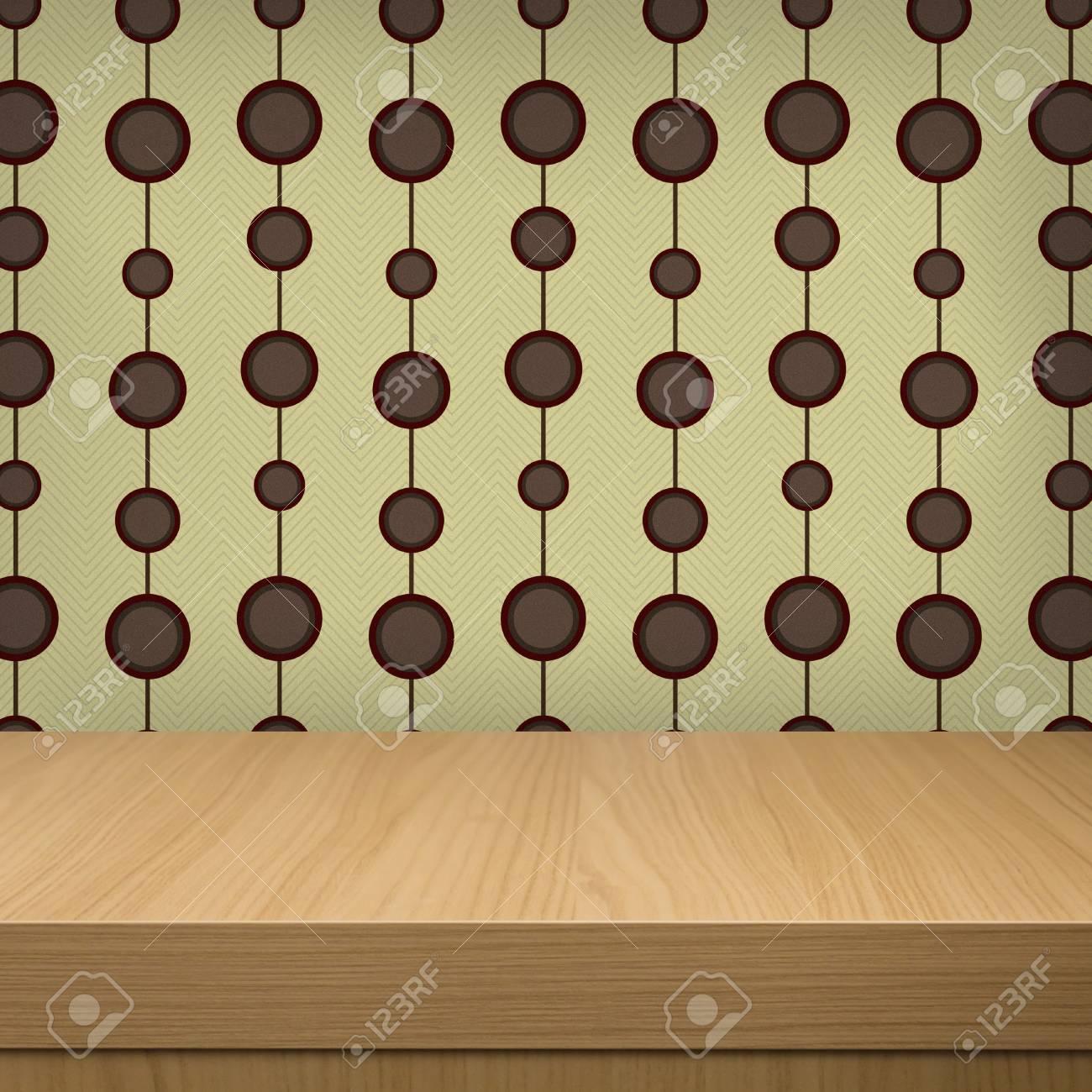 fond avec table en bois et motif de papier peint vintage pret pour le produit montage banque d images et photos libres de droits image 25360452
