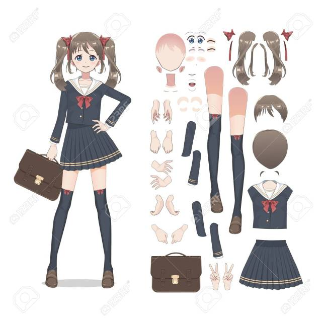 Anime Manga Schoolgirl In A Skirt Stockings And Schoolbag Cartoon Character In The Japanese