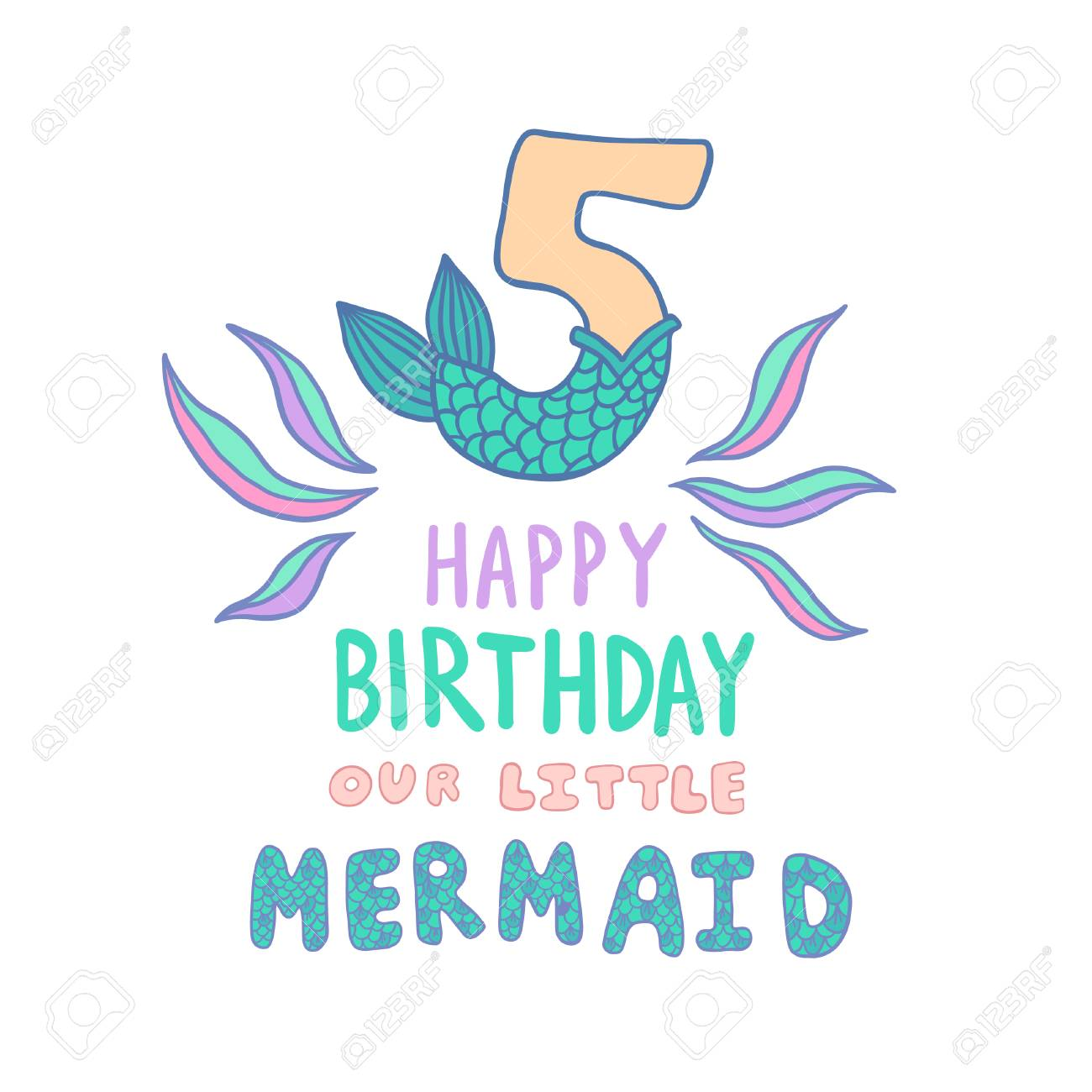 Number Five With Mermaid Tail Vector Illustration Royalty Free Cliparts Vectors And Stock Illustration Image 110476330