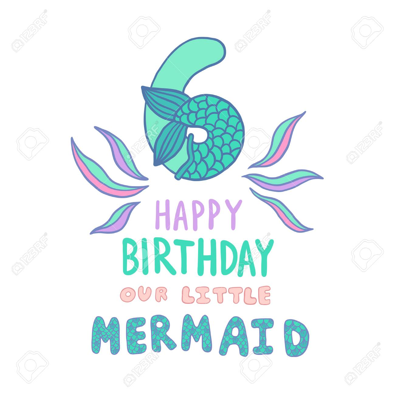 Number Six With Mermaid Tail Vector Illustration Royalty Free Cliparts Vectors And Stock Illustration Image 110476339