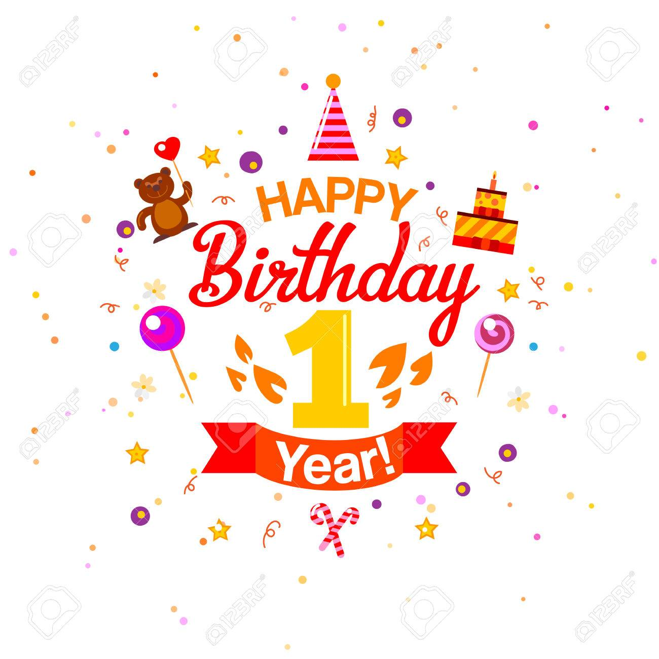First Happy Birthday Greetings Card First Year Kids Birthday Royalty Free Cliparts Vectors And Stock Illustration Image 53594285