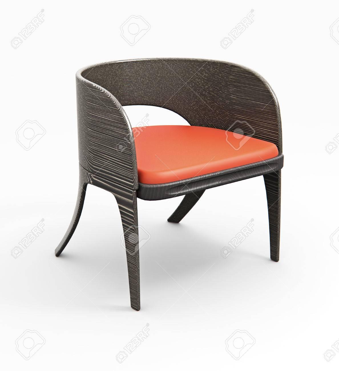 chaise en bois moderne isole sur 3d modele blanc