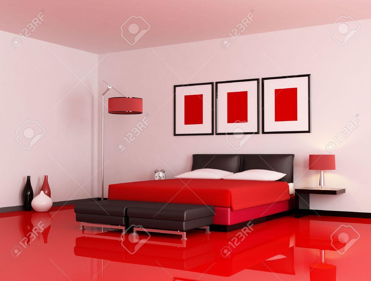 chambre moderne avec etage rouge et un mur blanc rendu
