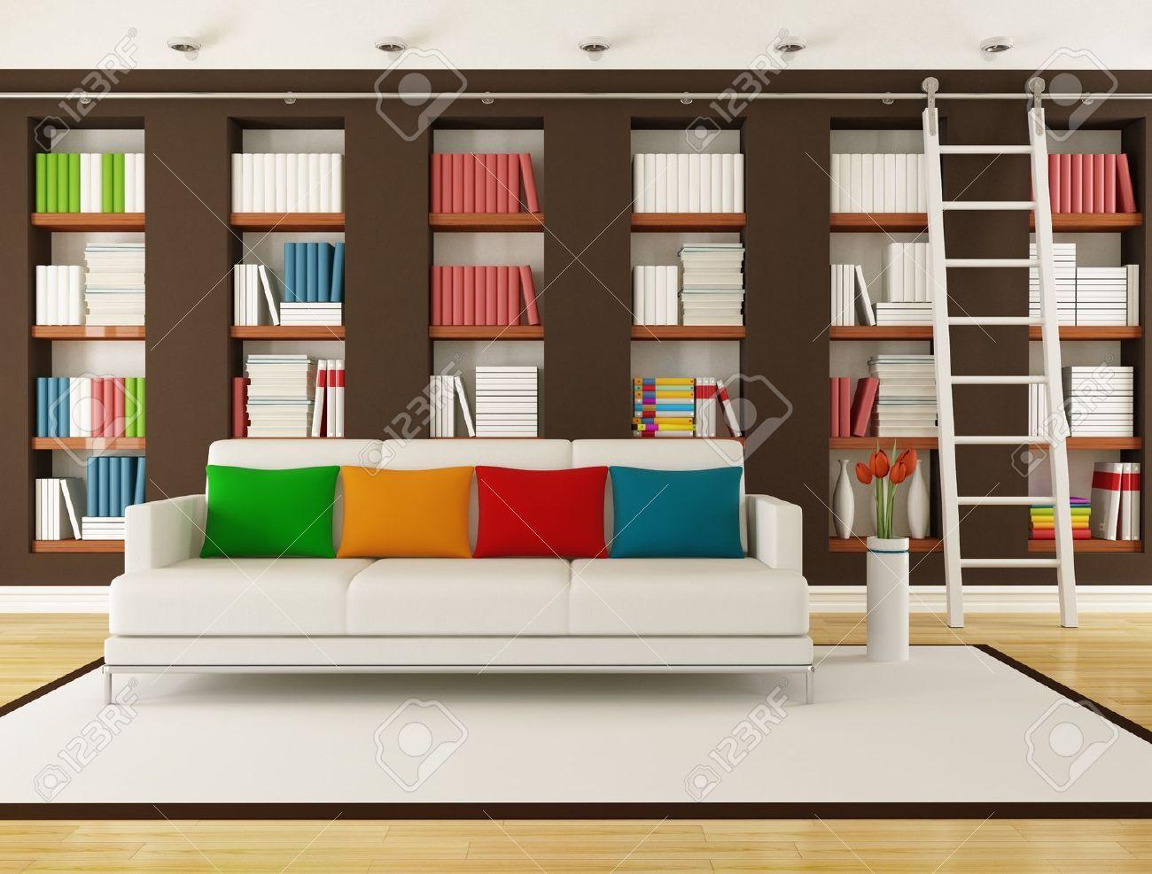 bibliotheque avec echelle dans une salle de sejour rendu moderne