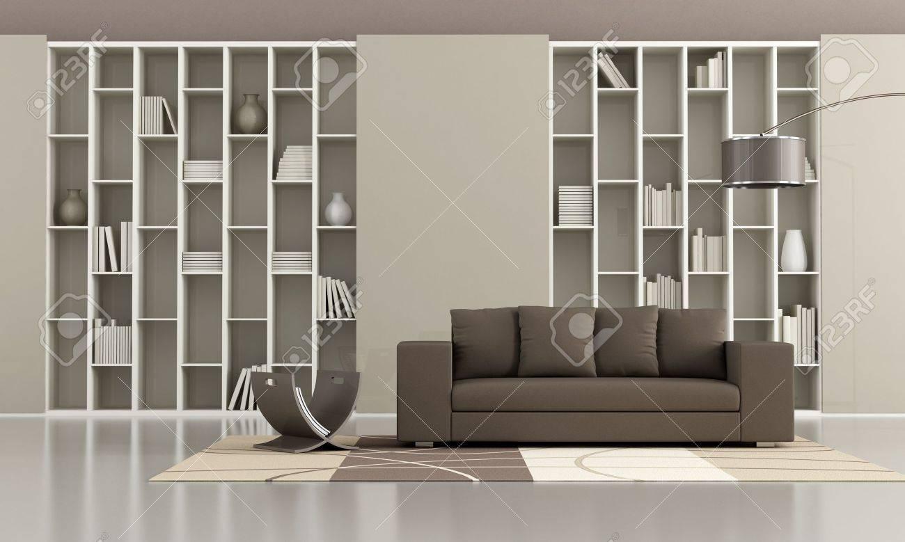 bibliotheque avec portes coulissantes et un canape brun dans un salon minimaliste