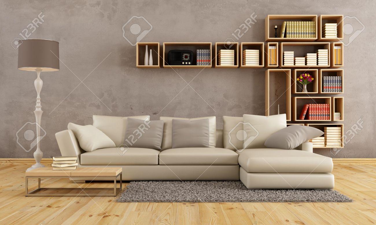 salon avec canape elegant et bibliotheque murale rendu