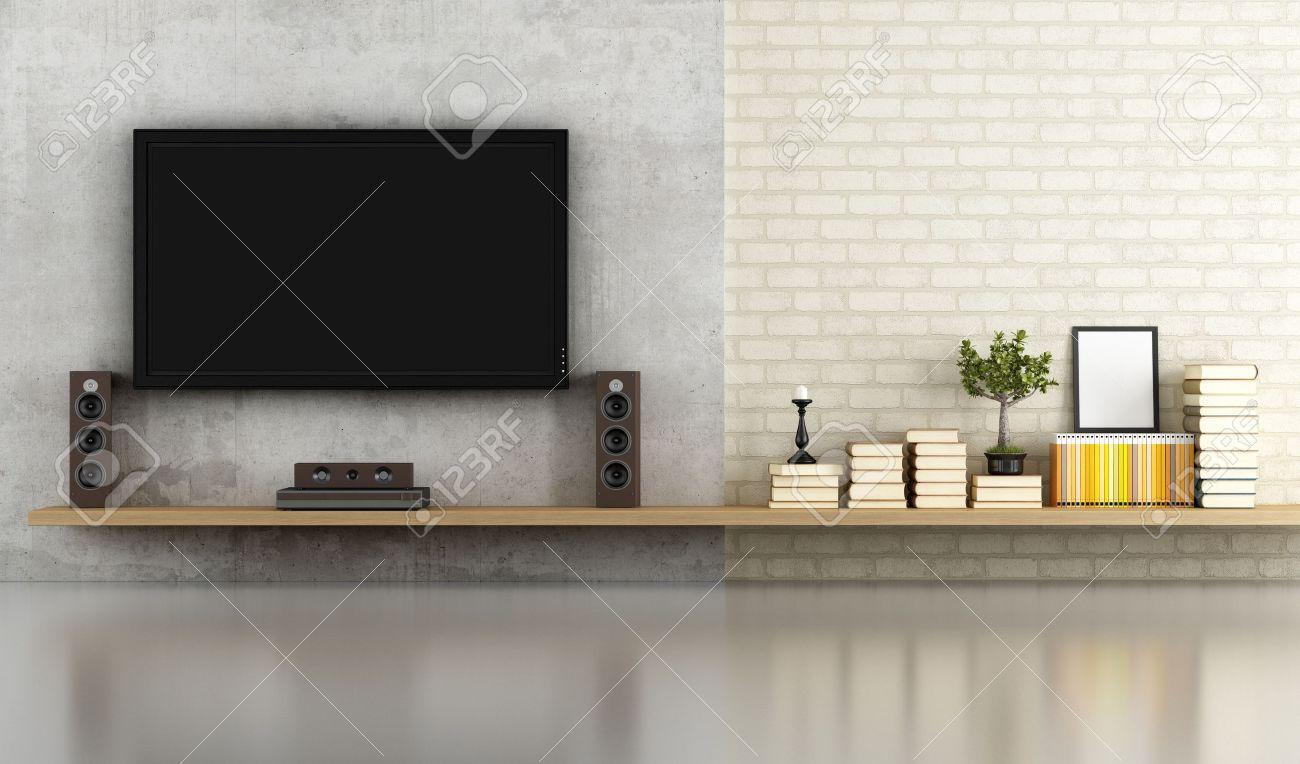 wohnzimmer ohne mobel mit regal tv und betonplatte rendering