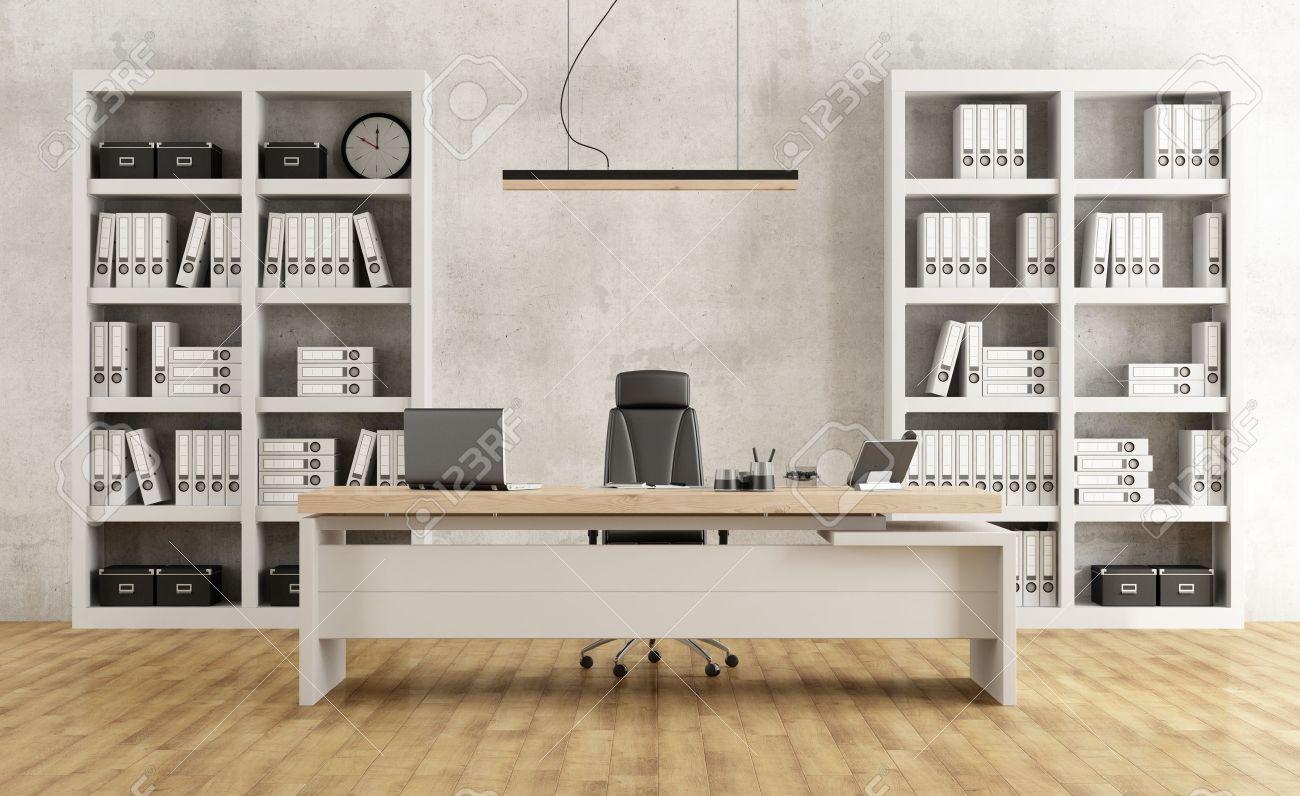 bureau minimaliste noir et blanc avec bureau et bibliotheque rendu 3d