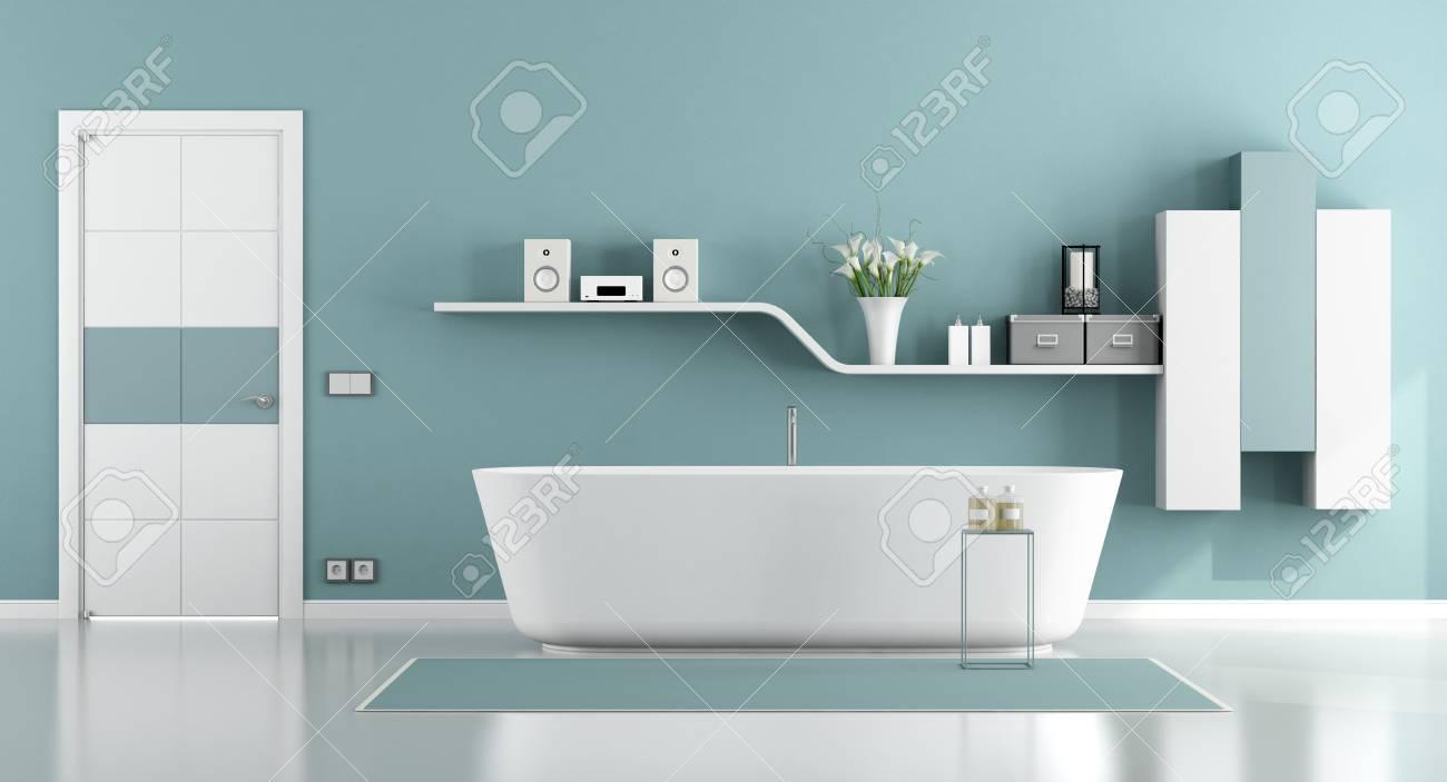 salle de bain moderne avec baignoire porte fermee et etagere murale rendu 3d
