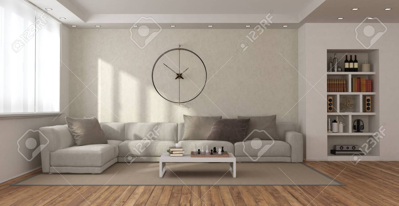minimalist living room with sofa coffee table bookcase and big clock on wall 3d rendering