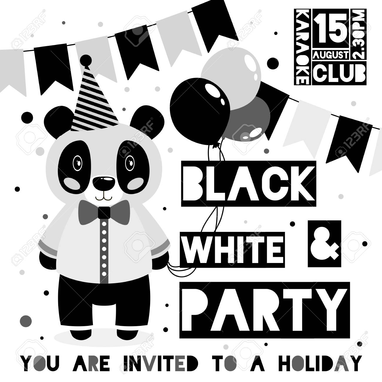 kids black and white party invitation card with animal panda