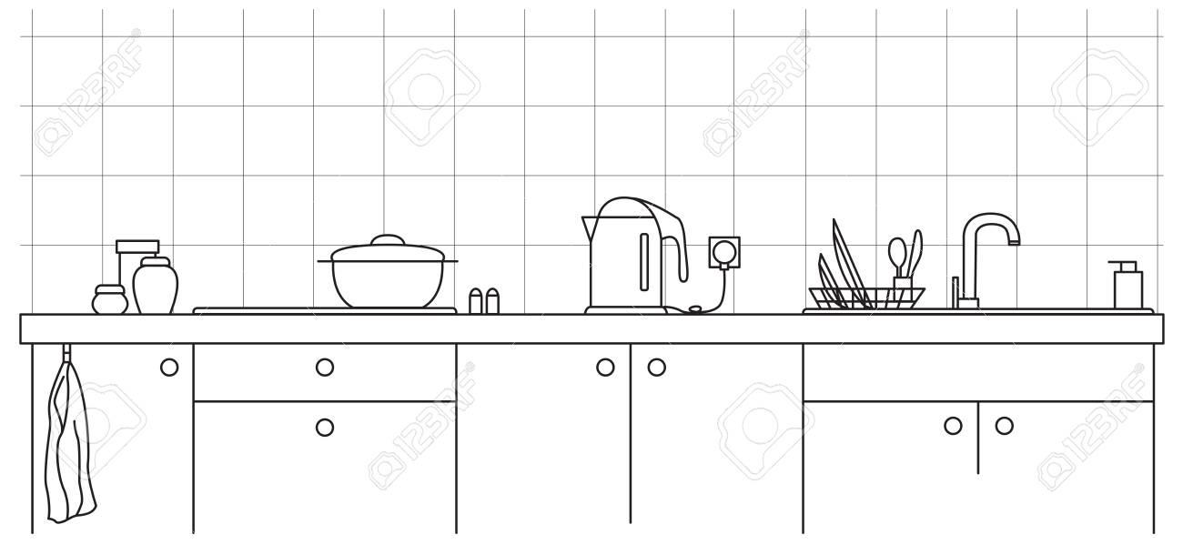 vier de cuisine plan de travail de cuisine avec evier et plaque dans le style de ligne
