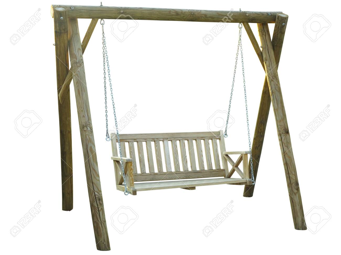 Classic Wooden Outdoor Hanging Swing Bench Furniture Isolated Stock Photo Picture And Royalty Free Image Image 129646167