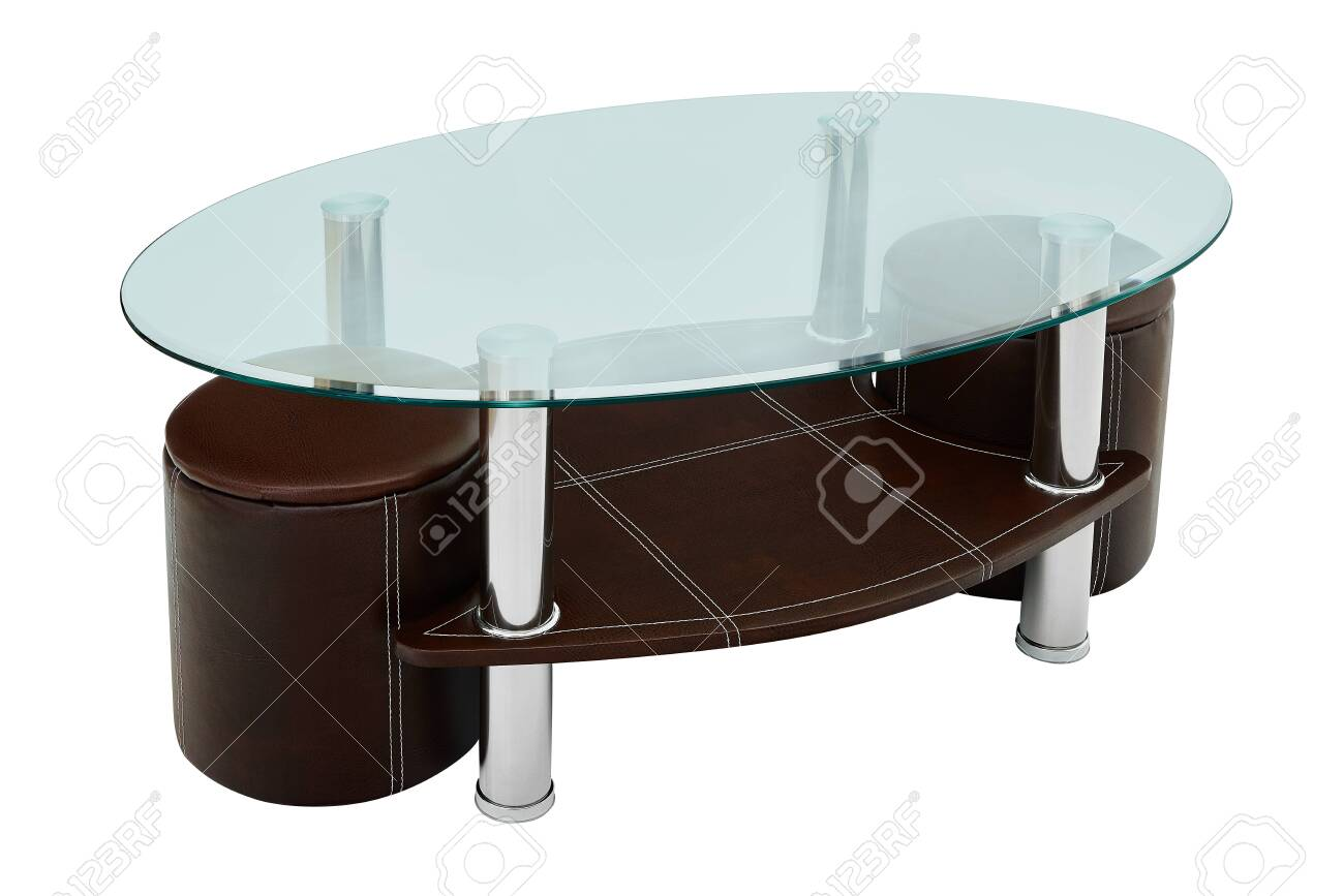 luxury coffee table and stools round glass and brown leather stock photo picture and royalty free image image 119380417