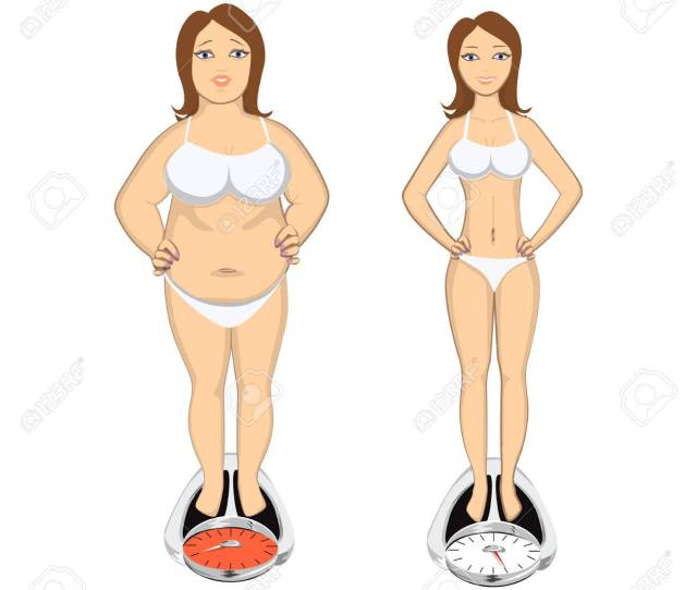 Before And After Weight Loss Beautiful Smiling Young Woman On Scales Fat And Chubby