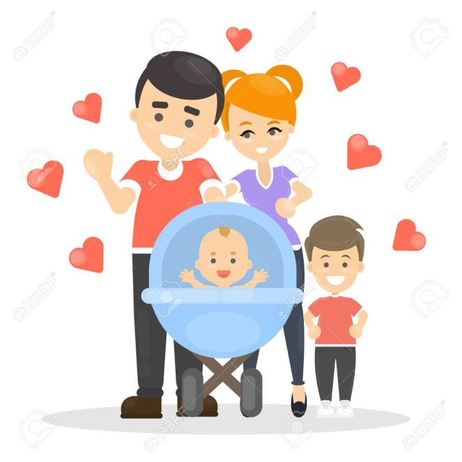 Isolated Happy Family With Newborn Baby. Royalty Free Cliparts ...