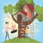 Tree House For Children Parents Build And Play Royalty Free Cliparts Vectors And Stock Illustration Image 100866953